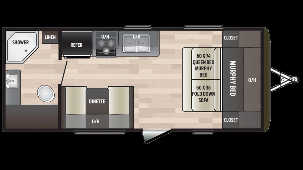 2018 Hideout 192LHS Floor Plan