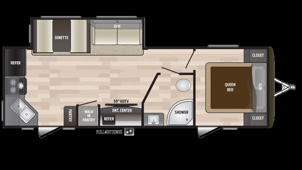 2018 Hideout 258LHS Floor Plan Img