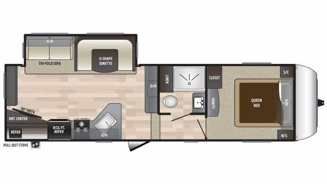 2018 Hideout 262RES Floor Plan
