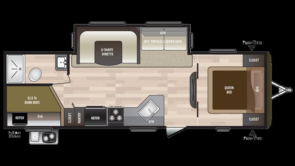 2018 Hideout 27DBS Floor Plan Img
