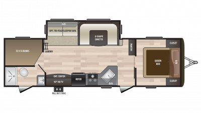 2018 Hideout 28BHS Floor Plan