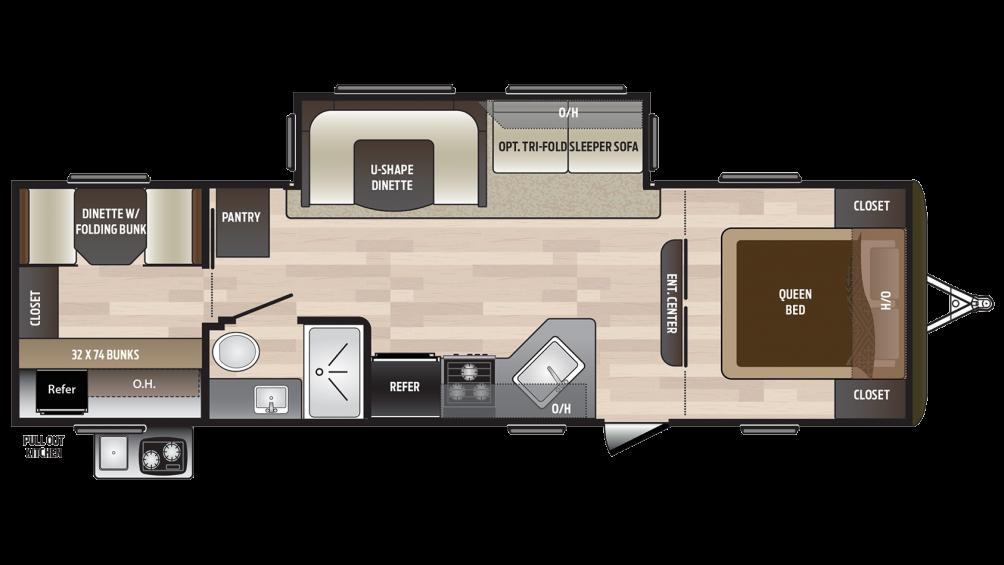 2018 Hideout 29BKS Floor Plan Img