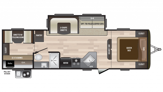 2018 Hideout 29BKS Floor Plan