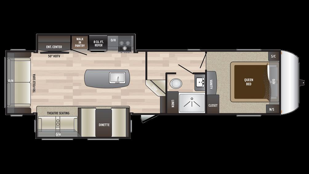 2018 Hideout 303RLI Floor Plan Img