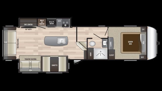 2018 Hideout 303RLI Floor Plan