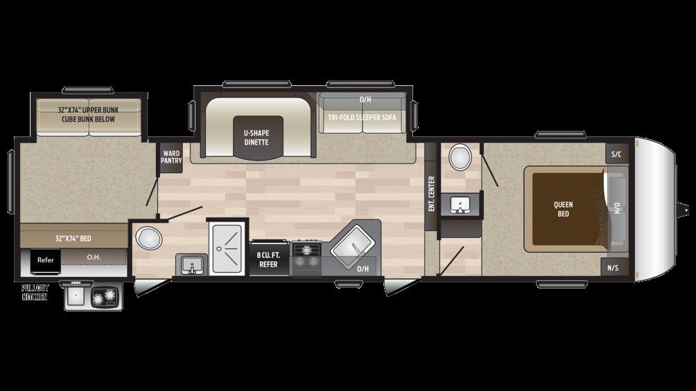 2018 Hideout 308BHDS Floor Plan Img