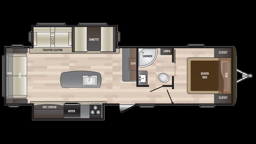 2018 Hideout 30RLDS Floor Plan Img