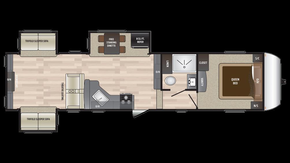2018 Hideout 315RDTS Floor Plan Img