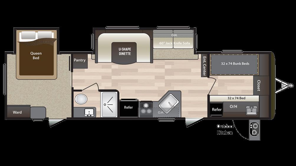 2018 Hideout 31FBDS Floor Plan Img