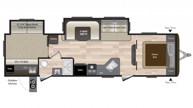 2018 Hideout 31RBDS Floor Plan