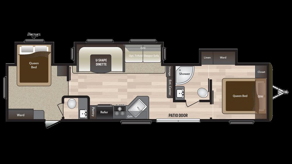 2018 Hideout 38FQTS Floor Plan