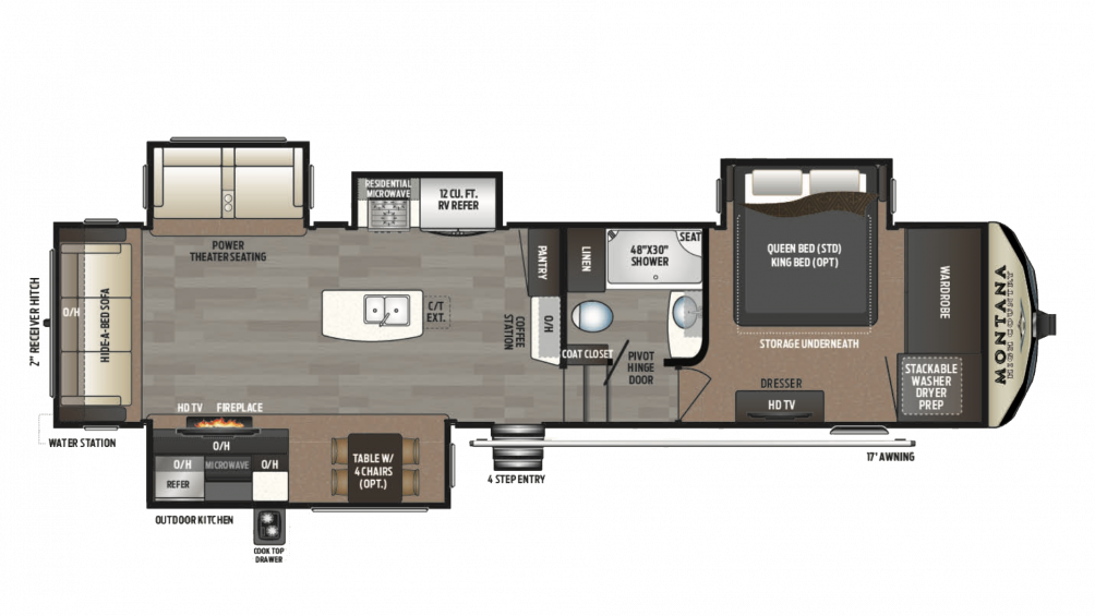 2018 Montana High Country 344RL Floor Plan