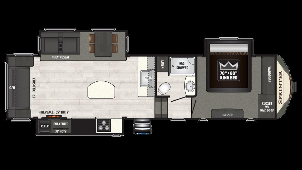 2018 Sprinter Limited 3150FWRLS Floor Plan