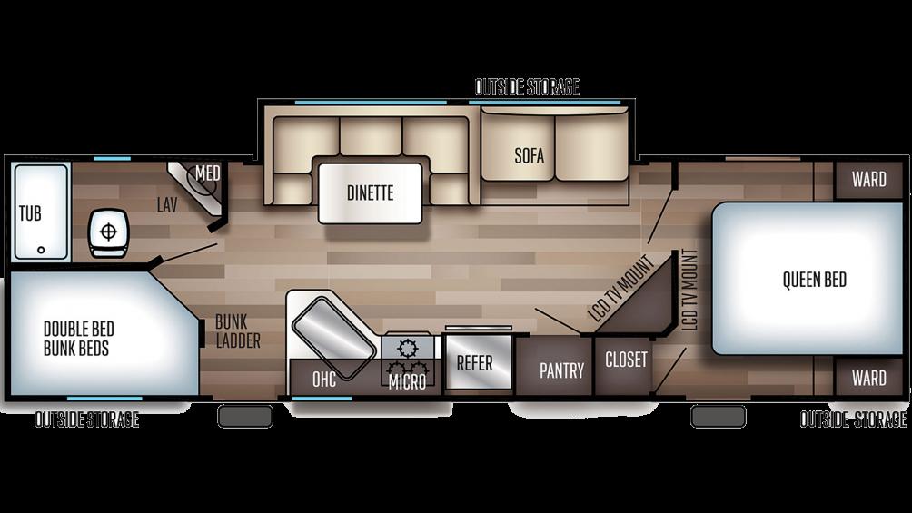 2019 Grey Wolf 27DBH Floor Plan Img