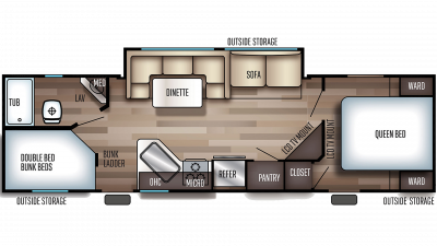 2019 Grey Wolf 27DBH Floor Plan Img