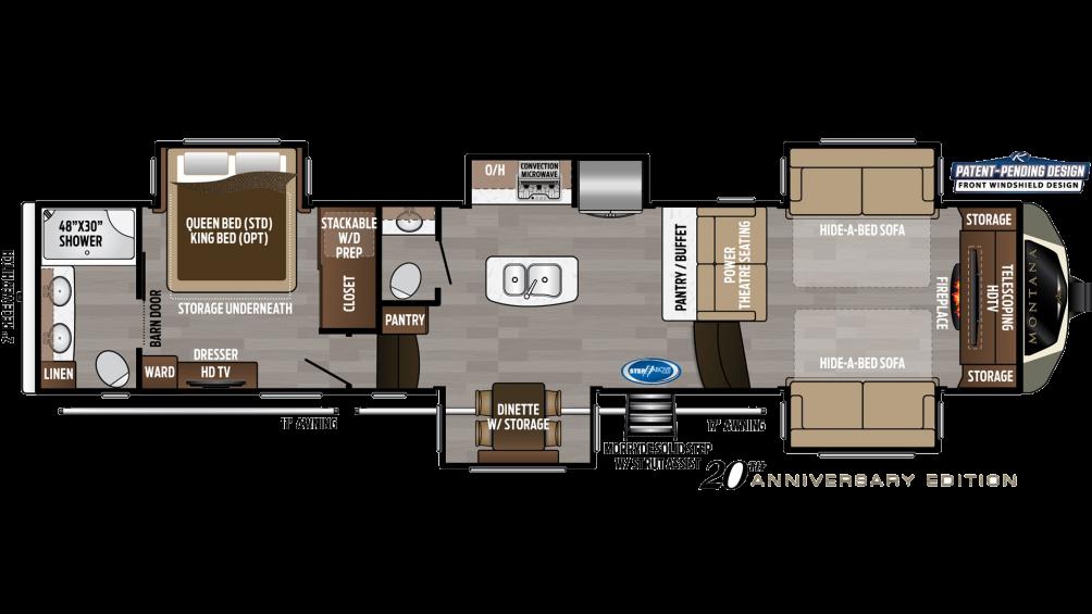 2019 Montana 3760FL Floor Plan Img