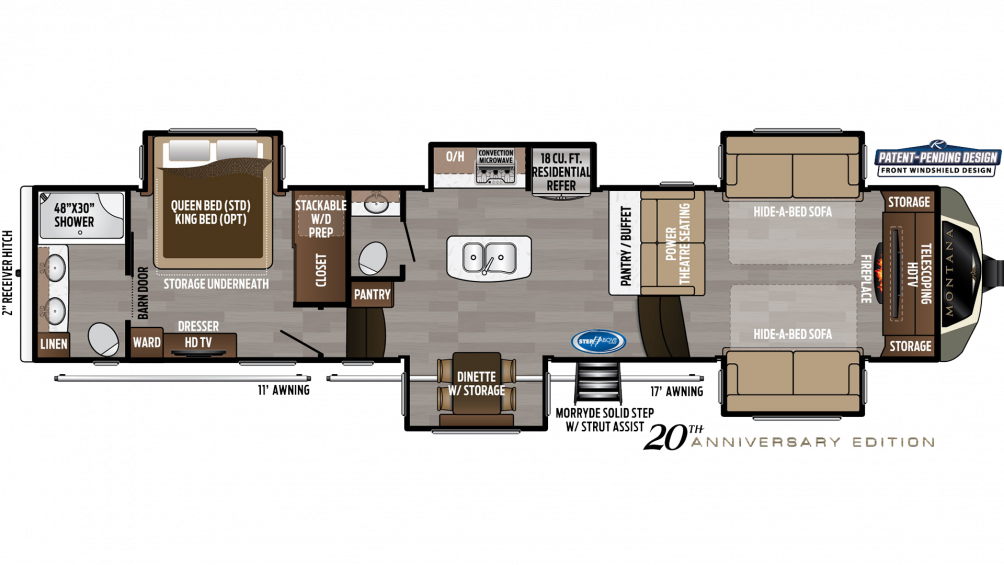 2019 Montana 3761FL Floor Plan Img