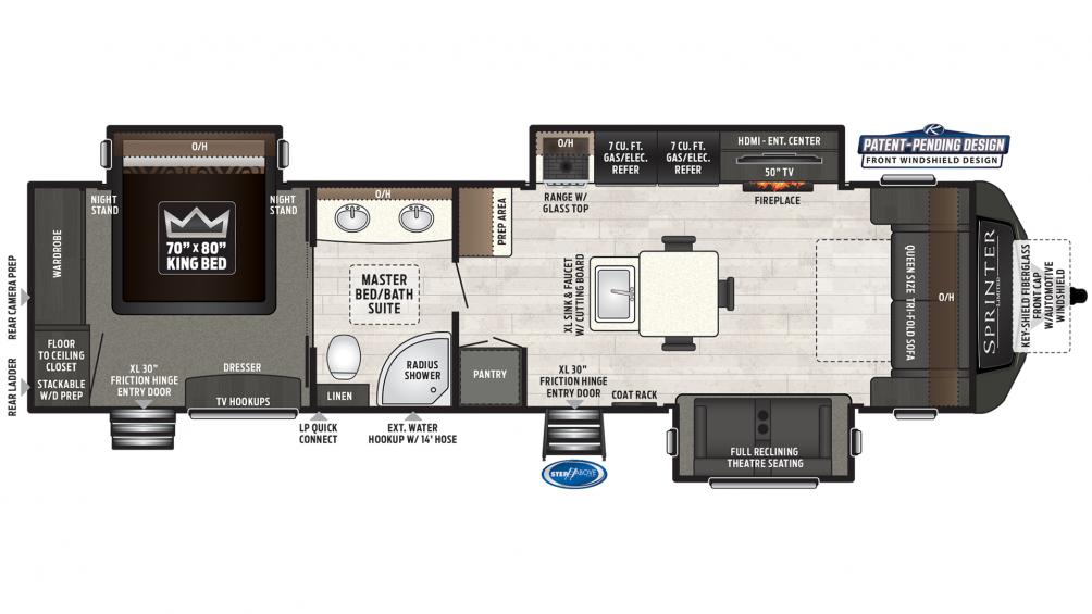 2019 Sprinter Limited 330KBS Floor Plan Img
