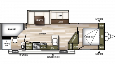 2019 Wildwood 26DBUD Floor Plan Img
