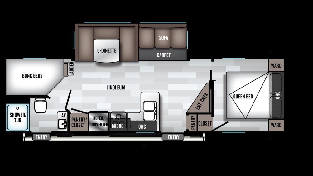 2019 Wildwood 26DBUD Floor Plan Img