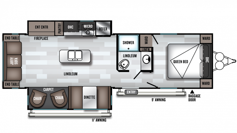 2019 Wildwood 27RE Floor Plan Img