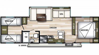 2019 Wildwood 29QBLE Floor Plan Img