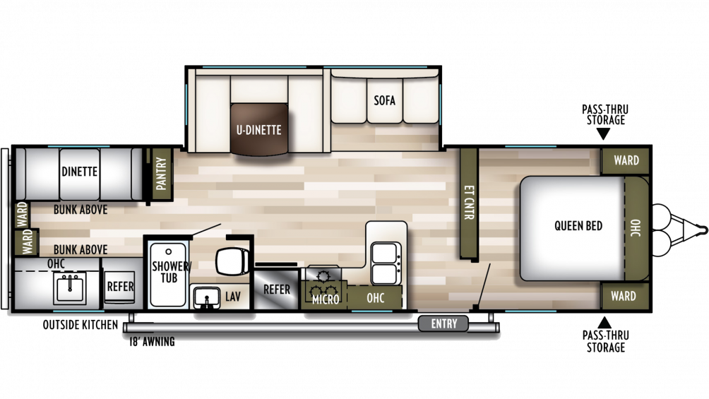 2019 Wildwood 30KQBSS Floor Plan Img