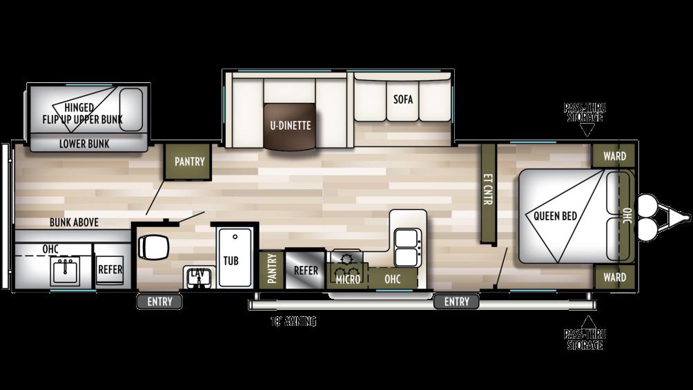 2019 Wildwood 32BHDS Floor Plan Img