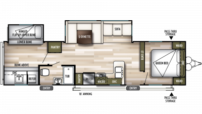 2019 Wildwood 32BHDS Floor Plan Img