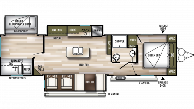 2019 Wildwood 32BHT Floor Plan Img