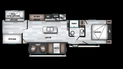 2019 Wildwood 32BHT Floor Plan Img