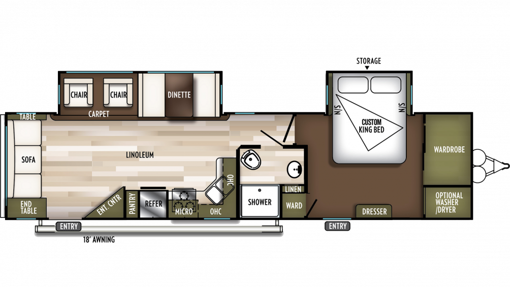 2019 Wildwood 32RLDS Floor Plan Img