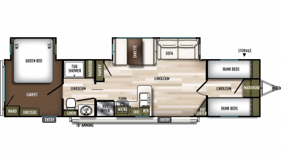 2019 Wildwood 36BHDS Floor Plan Img