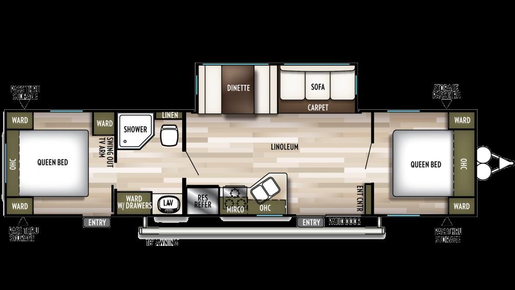 2019 Wildwood 37BHSS2Q Floor Plan Img