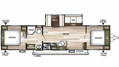 2019 Wildwood 37BHSS2Q Floor Plan Img