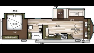 2019 Wildwood DLX 353FLFB Floor Plan Img
