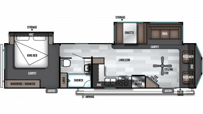 2019 Wildwood DLX 353FLFB Floor Plan Img