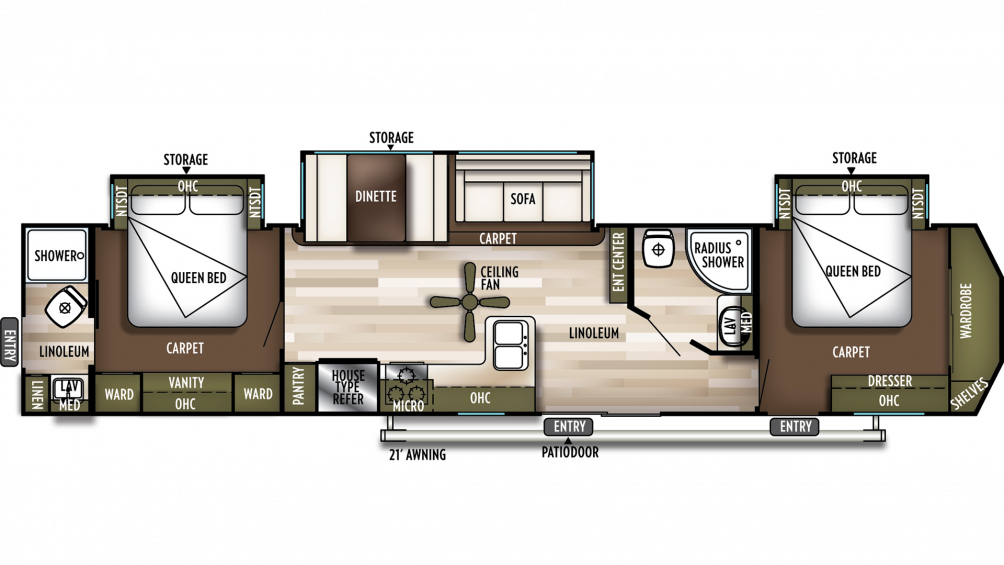 2019 Wildwood DLX 4002Q Floor Plan Img
