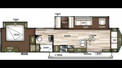 2019 Wildwood DLX 40FDEN Floor Plan Img