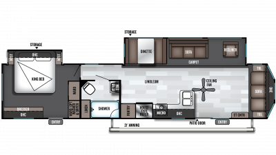 2019 Wildwood DLX 40FDEN Floor Plan Img