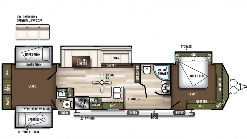 2019 Wildwood DLX 42QBQ Floor Plan Img
