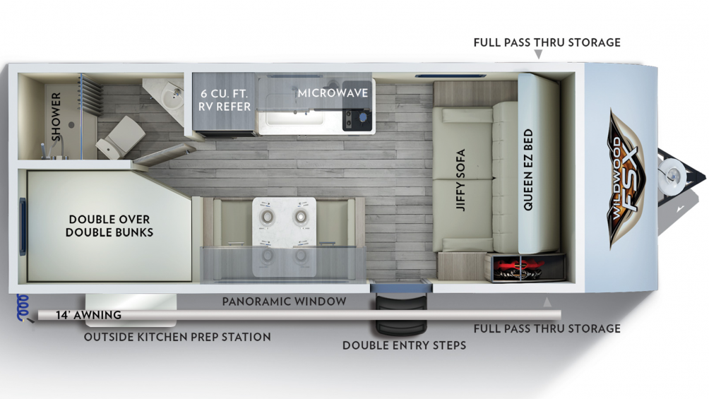 2019 Wildwood FSX 179DBK Floor Plan Img