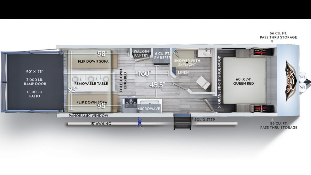2019 Wildwood FSX 210RT Floor Plan Img