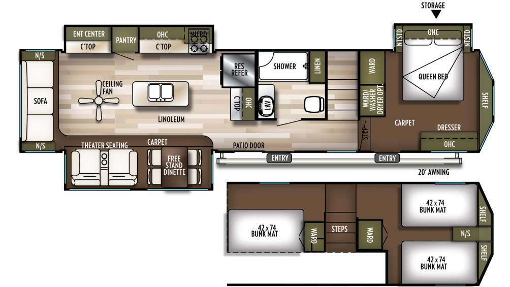 2019 Wildwood Grand Lodge 42DL Floor Plan Img