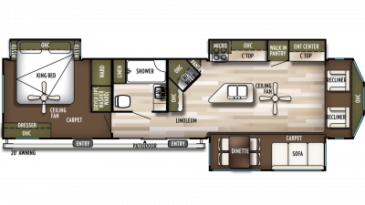 2019 Wildwood Lodge 393FLT Floor Plan Img