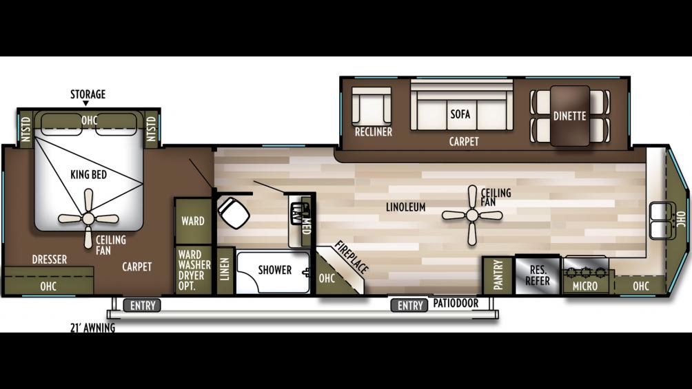 2019 Wildwood Lodge 394FKDS Floor Plan Img