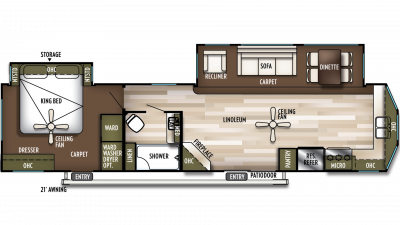 2019 Wildwood Lodge 394FKDS Floor Plan Img