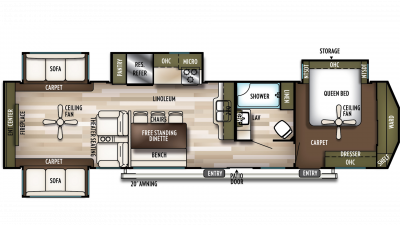 2019 Wildwood Lodge 395RET Floor Plan Img
