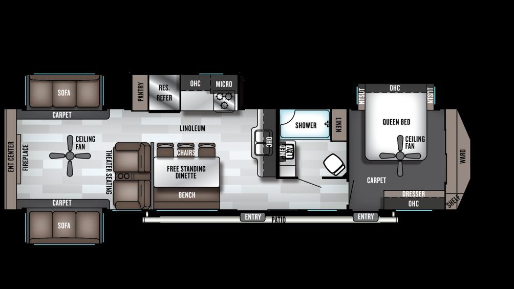 2019 Wildwood Lodge 395RET Floor Plan Img