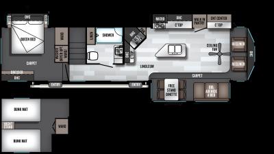 2019 Wildwood Lodge 4092BFL Floor Plan Img